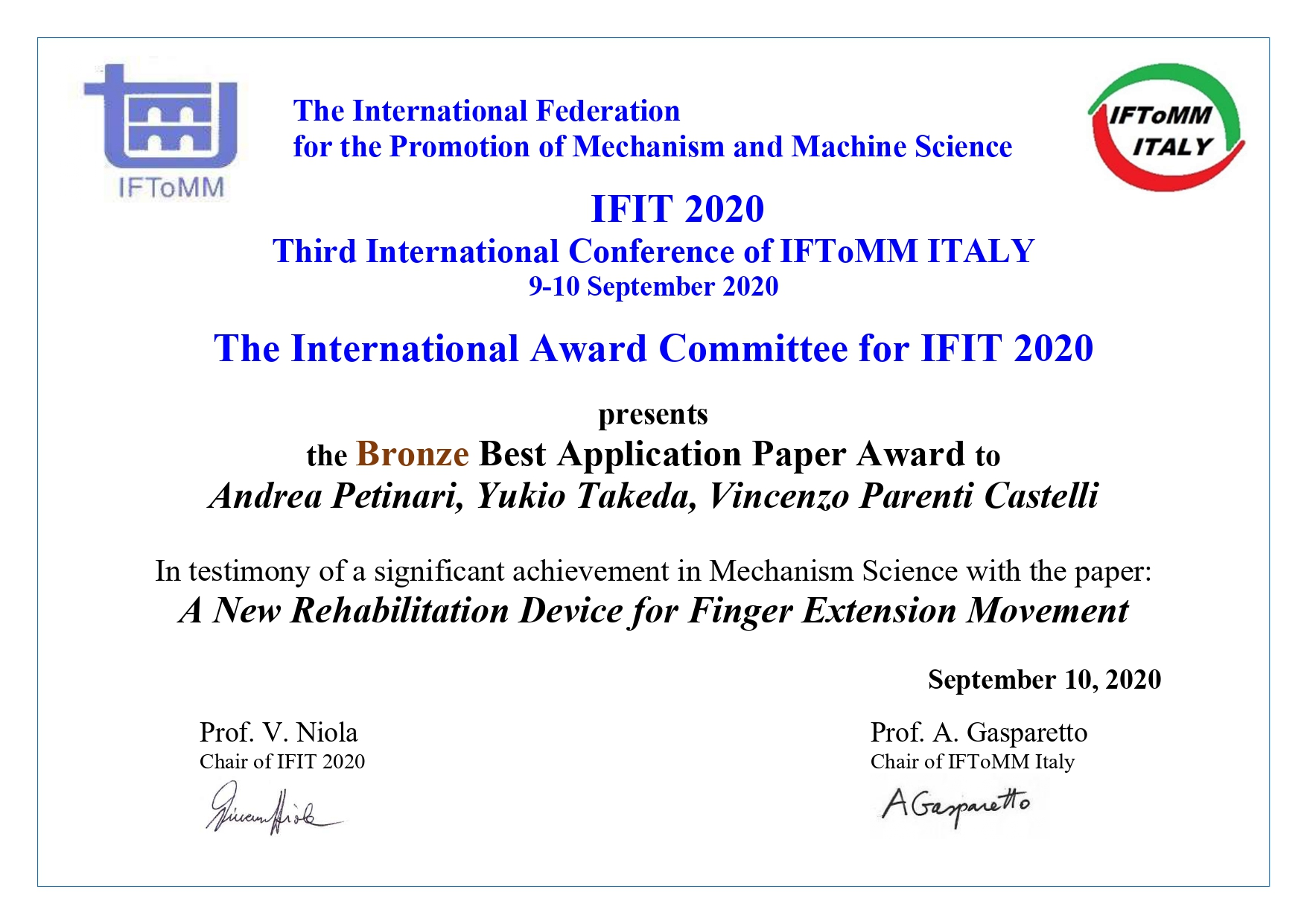 Takeda won the bronze in IFIT2020
