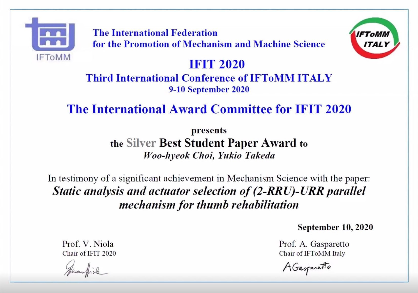 Choi won the Silver reward in IFIT 2020