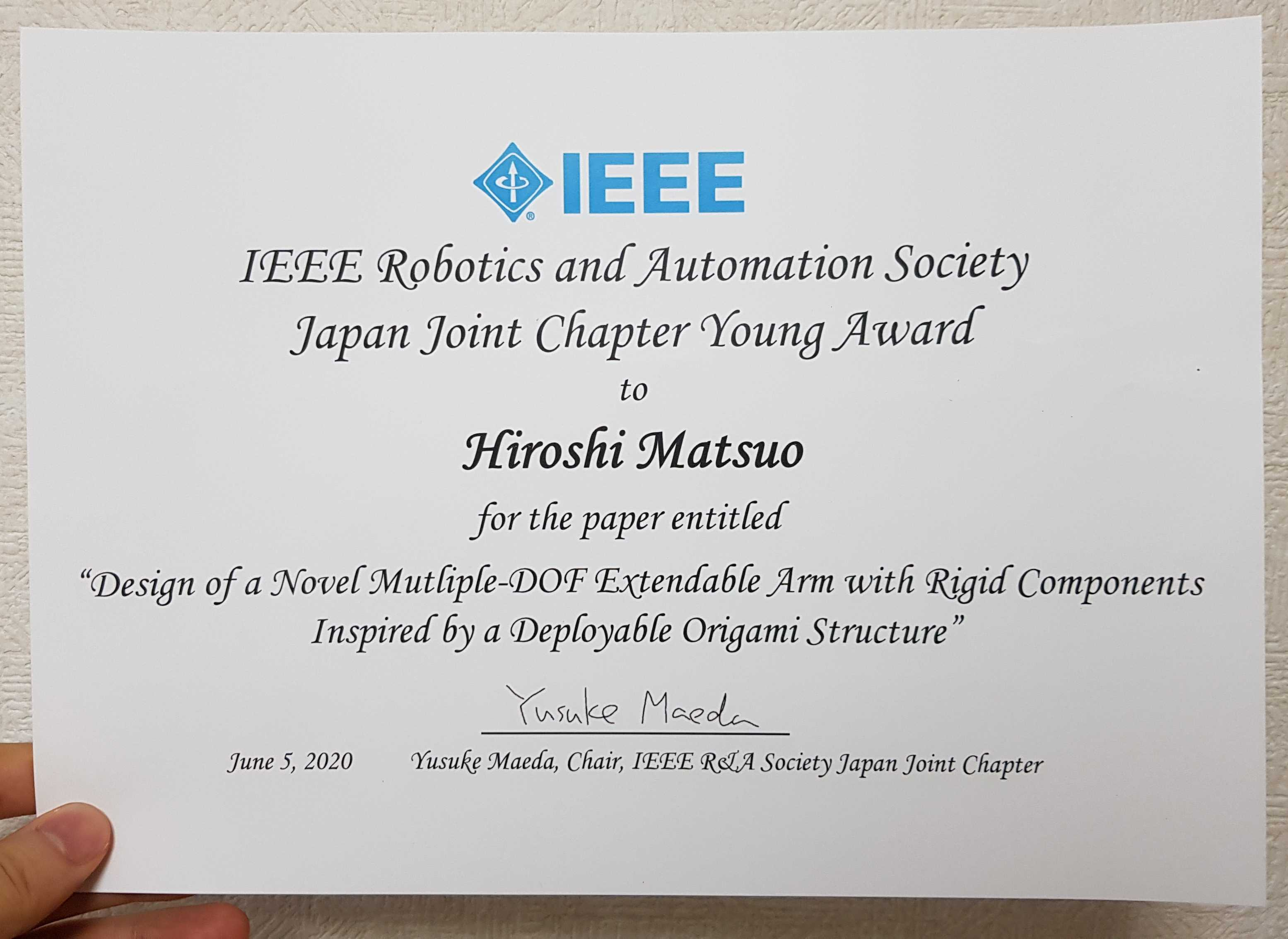 Matsuo won the JJC in ICRA2020